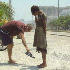 She needed shoes more than he did...what an amazing gesture of human kindness & compassion