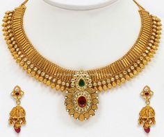 Antique Gold Beads Short Necklace