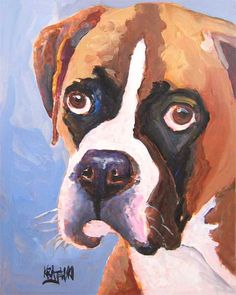Boxer Dog Art Print of Original Acrylic Painting - 8x10    About the Print:    This Boxer open edition art print is from an original painting by Ron