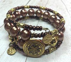 Wrap Bracelet, Bohemian Bracelet, Bead Bracelet, Memory Wire Bracelet https://www.etsy.com/listing/246372578/copper-wrap-bracelet-button-bead