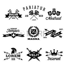 vintage labels with shield, crown, arrow, helmet