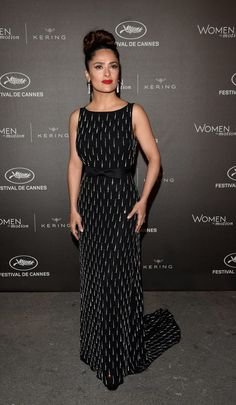 Pin for Later: Salma Hayek Always Dazzles on the Cannes Film Festival Red Carpet 2015 Wearing Saint Laurent. Celebrity Gowns, Celebrity Red Carpet, Celebrity Look, Salma Hayek Style, Salma Hayek Photos, Hollywood Fashion, Hollywood Stars, Simple Dresses, Pretty Dresses