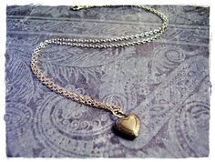 Tiny Heart Locket Charm Necklace in Antique by EvelynMaeCreations, $10.00