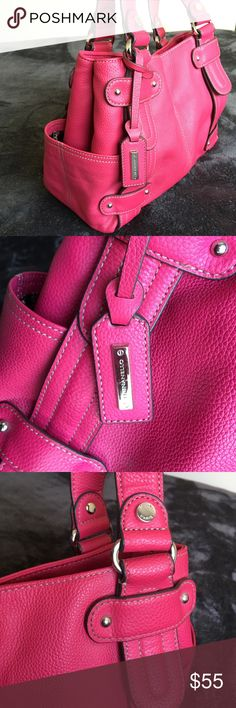 """Tignanello handbag pebble HOT PINK leather Hot pink pebble leather handbag is just sexy and beautiful!  Snap closure with side pockets, very roomy inside with compartments. Preloved but in like new condition. Double handles have about a 11.5"""" drop Tignanello Bags Shoulder Bags"""