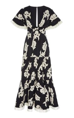 Calusa Embroidered Cotton-Blend Midi Dress by ALEXIS Now Available on Moda Operandi Embroidery On Clothes, Embroidery Fashion, Embroidery Dress, Floral Embroidery, Indian Embroidery Designs, Kurti Embroidery Design, Dress Outfits, Dress Up, Fashion Outfits