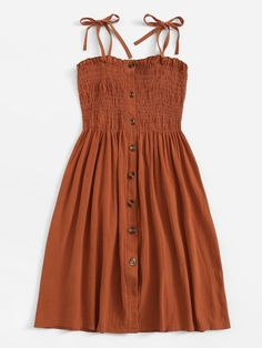 To find out about the Single Breasted Elastic Detail Slip Dress at SHEIN, part of our latest Dresses ready to shop online today! Girls Fashion Clothes, Teen Fashion Outfits, Mode Outfits, Look Fashion, Girl Fashion, Casual Outfits, Clothes For Women, Short Casual Dresses, Women's Casual