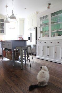 White kitchen dresser, grey island