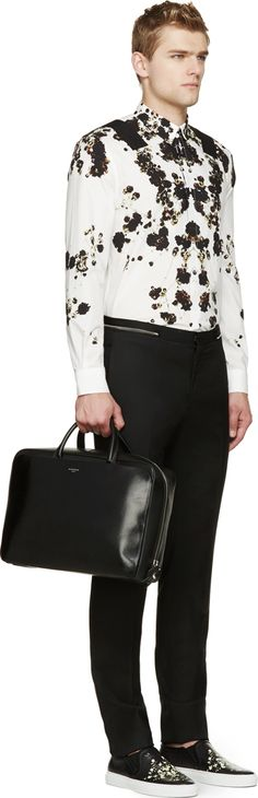 Givenchy White Floral Pearl Button Shirt