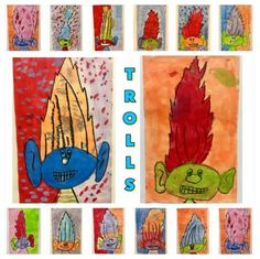 2nd Graders LOVED drawing and painting TROLLS!