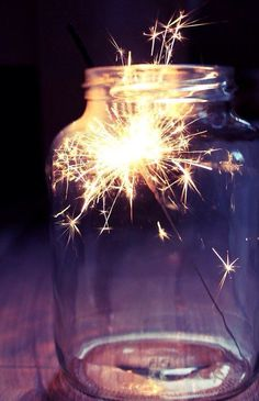The cutest way to give off soft lighting in the evening. If you can't get long-lasting sparklers just use a few small candles in a big jar