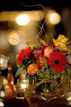 Reception, Centerpiece, Red, Orange, Decor, Brown, Wedding