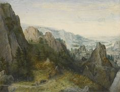 Lucas van Valckenborch Leuven or Michelin 1535/1545 - 1597 Frankfurt am Main Rocky landscape with travellers on a path, with a view of a town, believed to be Huy, in the valley beyond. Oil on oak panel