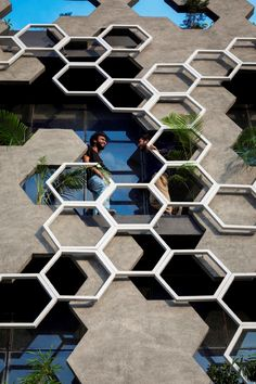 Hexalace by Studio Ardete: Love this overlay of hexagons on this building facade and the way it creates a minimal railing on the balconies! Architecture Design, Minimalist Architecture, Facade Design, Futuristic Architecture, Amazing Architecture, Contemporary Architecture, Exterior Design, Pavilion Architecture, Biomimicry Architecture