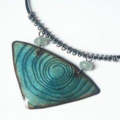 Hana Bendová - necklace (enamel on copper, steel wire, glass beads, leather)