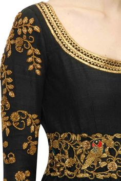 TISHA SAKSENA Black zardozi anarkali set with cutwork belt available only at Pernia's Pop-Up Shop.