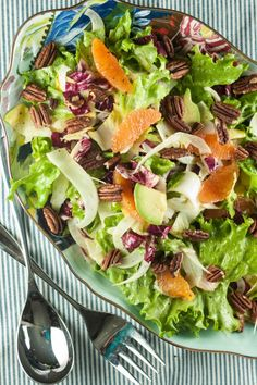 Salad with Cara Cara Oranges, Shaved Fennel, Avocado, Escarole, Endive ...