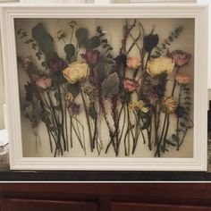 Wedding bouquet- dried and pined in shadow box