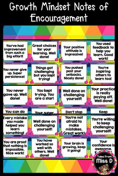 Encourage a Growth Mindset in your classroom with these bright and colourful Growth Mindset Notes Of Encouragement. There are a total of 44 notes, which can be printed, laminated and handed to students. Each note gives positive feedback about learning and attitude, in regards to Growth Mindset. These notes can be handed out during and after lessons, as a way of encouraging more positive thinking. © Tales From Miss D