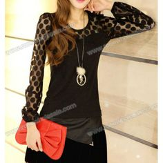 Wholesale Trendy Scoop Collar See-through Grenadine Long Sleeves Slimming Blended T-Shirt For Women (BLACK,M), Women's T-shirts - Rosewholesale.com
