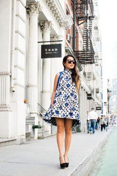 Spring in the City :: Floral swing dress & Velvet Boy bag :: Outfit ::  Dress :: ASOS jacquard dress Shoes :: Prada platforms Bag :: Chanel Accessories :: Karen Walker sunglasses Published: June 2, 2017