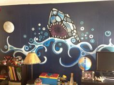 Kids Bedroom Ideas Shark Wall Mural Decorating