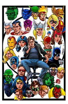 Marvel and DC heroes Comic Book Artists, Comic Book Heroes, Comic Books Art, Marvel Lee, Marvel Dc Comics, Dc Comics Collection, Superhero Images, Wonder Man, George Perez