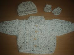 Baby boys cream fleck ARAN type CABLE  jacket by xxdaisychainsxx, $44.00