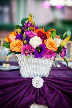 L Event Design centerpieces, Concepts Event Design majestic purple linen, Rhinestone Encrusted Brooche, Wedding @ Hyatt Regency La Jolla: Cynthia and Wissam