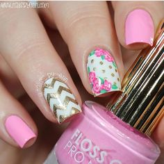 Pretty & pink manicure by @nails_by_erin. Erin is using our Chevron Nail…