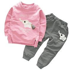 Belababy Girls Clothing Sets 2018 Spring Style Long Sleeve Elephant Cartoon T-shirt+Pants For Boys Children Clothing Baby Outfits, Toddler Boy Outfits, Kids Outfits, Toddler Boys, Stylish Outfits, Fashion Outfits, Little Boy Fashion, Kids Fashion Boy, Toddler Fashion