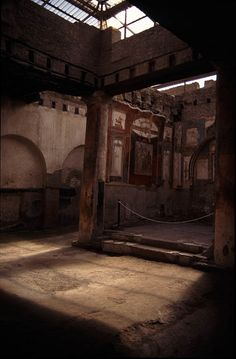 "POMPEII  --  ""HOUSE OF THE VETTII""  --  79  --  Current Location: Pompeii, Napoli, Campania, Italy  --  One of the few Pompeian  houses in which all of the original frescoes,  furnishings, artifacts, etc., remained intact as opposed to being sold off during the 18th & 19th centuries as was the case with other Pompeian homes."