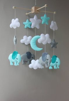 elephant nursery elephant baby shower baby mobile mobile baby elephant nursery elephant baby shower baby mobile mobile baby mobile bebe felt mobile nursery mobile baby shower gift crib mobile mobile Size: height from the wooden frame for mobile down 15 Baby Room Themes, Boy Baby Shower Themes, Baby Boy Rooms, Baby Room Decor, Baby Boy Shower, Room Baby, Baby Cribs, Elephant Mobile, Elephant Nursery Decor