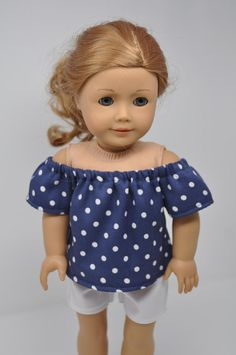 Navy Blue and White Polka Dot Print Off the Shoulder Top Shirt American Made Doll Clothes 18 Inch Doll Clothes