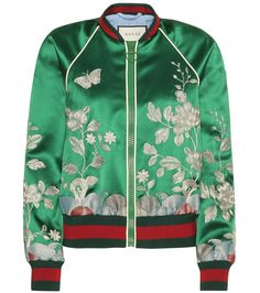 Gucci embroidered silk bomber jacket