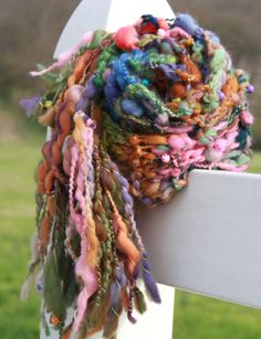 Hand Knit Bulky Scarf in Multi Color with Beads Super by bpenatzer, $89.00