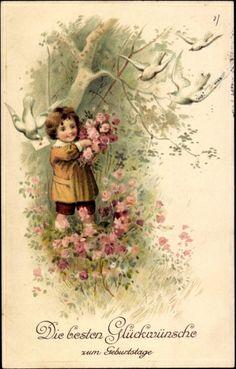 Präge Ak Glückwunsch Geburtstag, Kind mit Rosenblüten, Weiße Tauben