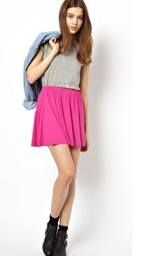 Pink Skirt - This skater skirt is that pop of color you will need. Show off your girly side. More Valentine's Day outfit ideas here: http://www.rewards4mom.com/look-totally-adorable-valentines-30/