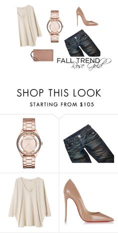 """""""fall trend: rose gold"""" by la224 on Polyvore featuring Marc by Marc Jacobs, Thomas Wylde, EAST, Christian Louboutin and Michael Kors"""