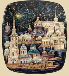Russian Kholui Lacquer Box 3331 Sights of St Petersburg   eBay