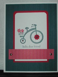 Stampin' Up! Moving Forward stamp set. This set can be purchased from Stampin' Up! current catalog (until May 31, 2013). 3.00$ of the purchase goes to The Ronald McDonald charities. Why not do something you love, while supporting others?! Card made by Lisa Bowell-Stampin' Up! Demonstrator. @ lisastamps.com