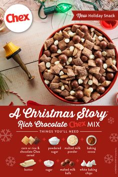 Get ready for the rich, creamy delicious mix all of your friends and relatives will be raving about this season. Make it while you watch your favorite holiday movie and serve it as a snack or dessert for the seasons many parties and festivities. Holiday Snacks, Christmas Party Food, Christmas Sweets, Holiday Recipes, Christmas Cookies, Christmas Candy, Puppy Chow Recipes, Snack Mix Recipes, Snack Mixes