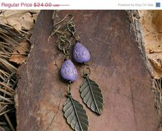 Purple Bronze Feather Earrings Tribal long by MoreThanPrettyThings