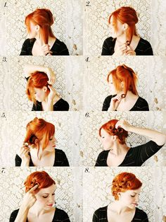 vintage inspired pin curls how-to: 1. Pin up all of your hair except for a section at the bottom. 2-4. Spray with water and begin taking small sections (about 1 inch) and rolling the hair up to the root. Pin in place. 5-6. Once you finish with the bottom section, release a new section from the pinned hair and continue as before. Do this until all hair is rolled and pinned in place. [...]