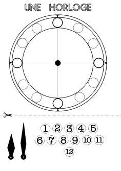 Cadran d'une pendule en maternelle et cp