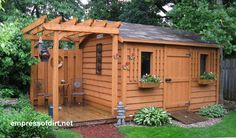 Garden shed with side deck | Gallery of Garden Sheds - fun for porch swing...