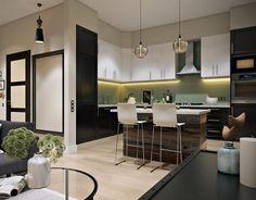 Fekete-fehér frontok, kellemes zöld konyha hátfal burkolat, rusztikus fa konyhasziget