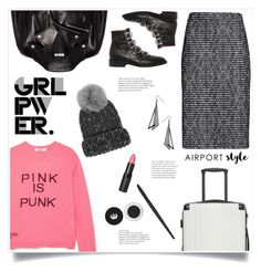 """""""Airport Style!"""" by diane1234 ❤ liked on Polyvore featuring Miu Miu, Valentino, Eugenia Kim, Rimmel, Givenchy, Stupell, CalPak, girlpower, airportstyle and powerlook"""