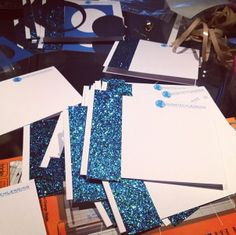 thank you cards, blue glitter, stationary, custom made, personalized