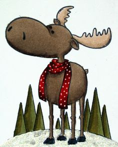 "Paper Perfect Designs: TSG ""Merry Christ-Moose, Nice Rack, and Nordic Borders""… Moose Decor, Moose Art, Frog Illustration, Winter Art, Art Graphique, Woodland Creatures, Watercolor Cards, Rock Art, Baby Quilts"