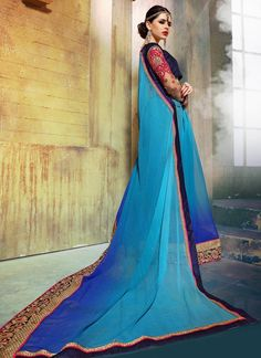 Artistic Embroidered Work Georgette Designer Saree
